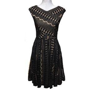 Betsey Johnson Lace Overlay Midi Dress